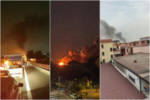 """Vasto incendio al campo rom: """"Fiamme e fumo da stanotte, l'aria è irrespirabile"""""""