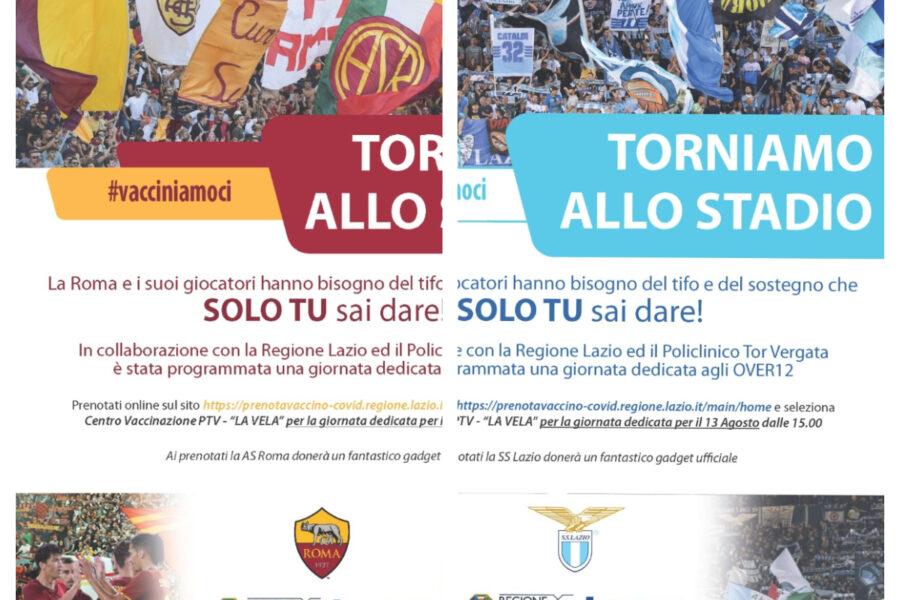 """""""Il calcio ha bisogno del tuo tifo"""", la Regione Lazio apre la giornata dei vaccini ai tifosi"""