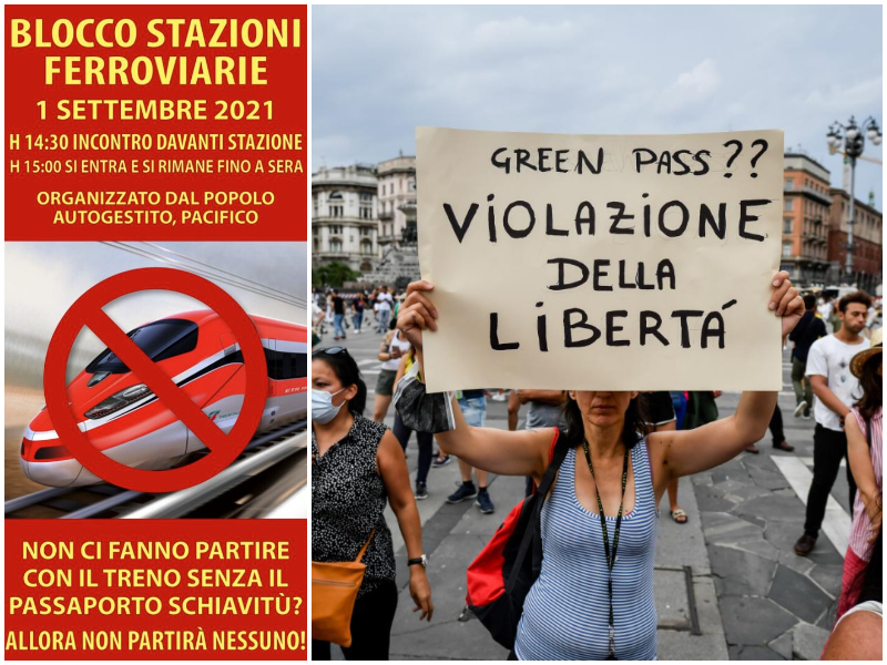 """""""Blocchiamo tutti i treni"""", la minaccia di No Vax e No Green Pass contro la """"dittatura sanitaria"""""""