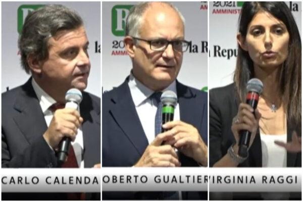 Confronto tra candidati sindaco: Michetti fugge ancora, sul palco è sfida a tre