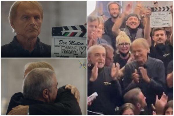 """Il video dell'ultima scena di Don Matteo, applausi e commozione sul set: """"Grazie di tutto Terence"""""""