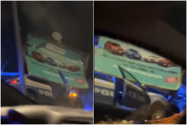 Folle inseguimento a Roma, volante della polizia si schianta contro cartelloni pubblicitari