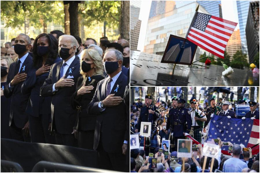 """L'America si ferma per l'11 settembre, a Ground Zero Biden e Obama: """"Usa patria di eroi, 20 anni dopo lo stesso coraggio"""""""