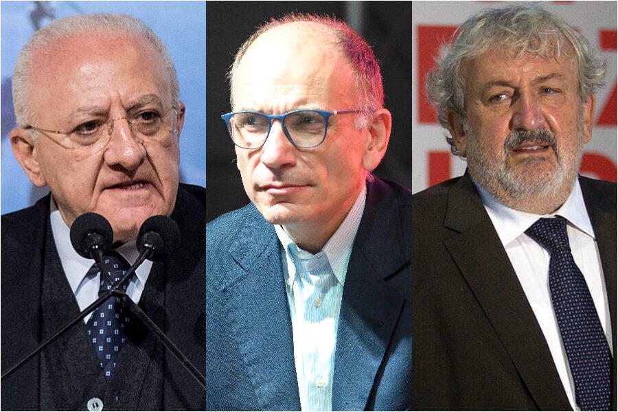 De Luca, Emiliano e Letta smontano il Pd: il paradosso democrat che affossa il partito