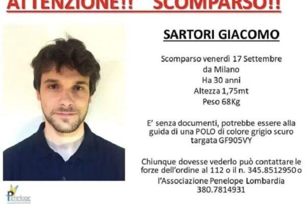 Giacomo Sartori, trovata l'auto del giovane scomparso: del 30enne nessuna traccia
