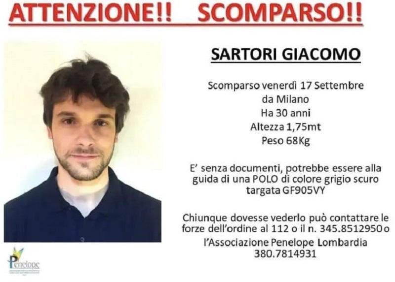 Giacomo Sartori scomparso nel nulla, il giallo dell'ingegnere 30enne: svanito dopo il furto dello zaino senza soldi e documenti