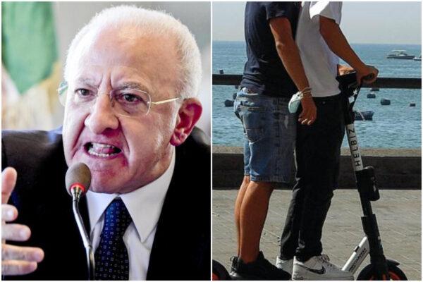 """De Luca dichiara guerra ai monopattini: """"Teste di sedano senza casco, pronta una stretta"""""""