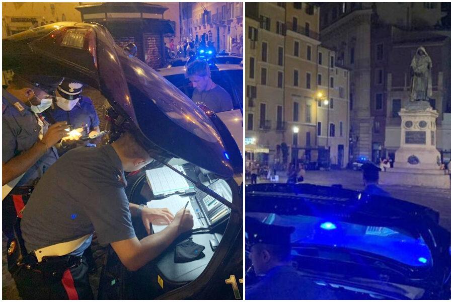 Movida senza freni a Roma, turista fa bagno nella fontana di Campo de' Fiori e la danneggia