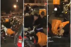 Rider pestato a sangue dal branco di minorenni: calci, pugni e colpi di casco in strada