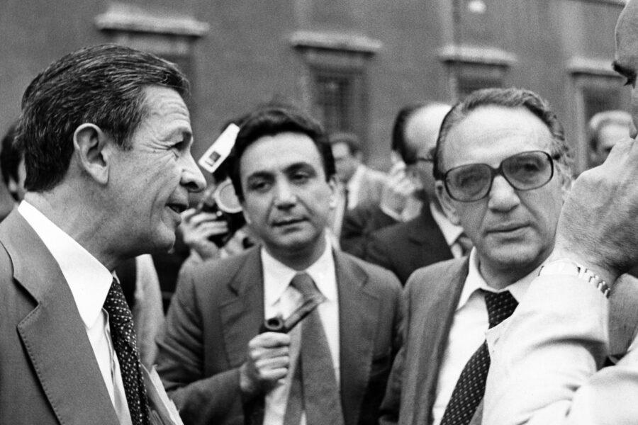 Luigi Petroselli con Enrico Berlinguer e Ciofi