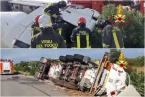 Camionista si ribalta con l'autocisterna di Gpl: paura per il rischio esplosione