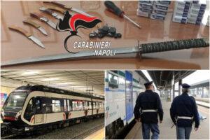 In Circumvesuviana con una katana di 60 centimetri ma senza mascherina e biglietto: caos sul treno