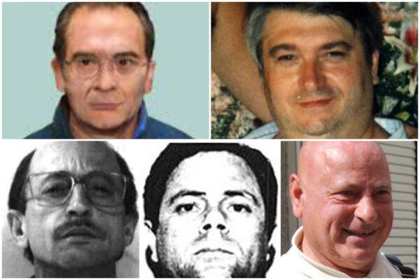In alto da sinistra Matteo Messina Denaro e Giovanni Motisi. In basso da sinistra: Renato Cinquegranella, Attilio Cubeddu e Graziano Mesina