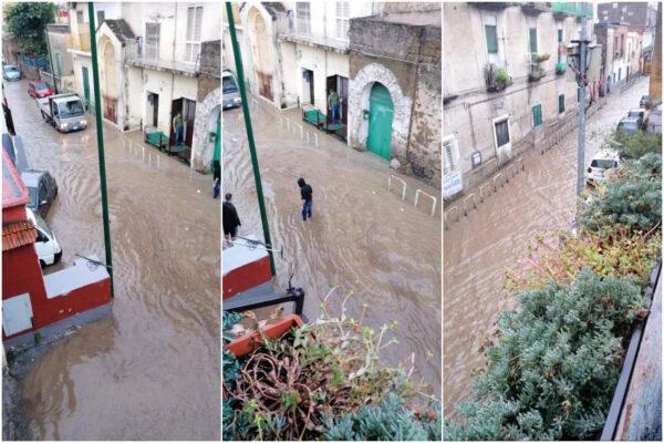 Maltempo a Napoli, uomo e donna intrappolati in auto: poliziotti 'volano' a piedi e li salvano
