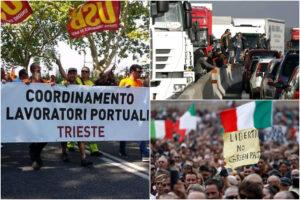 I No Green pass minacciano la paralisi: scioperi e supermercati vuoti, si rischia il blocco del Paese