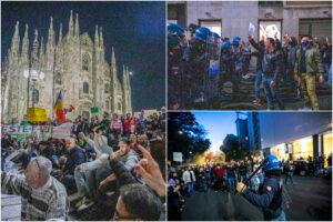 Corteo No Green Pass a Milano, in 15mila paralizzano la città: la polizia carica i manifestanti